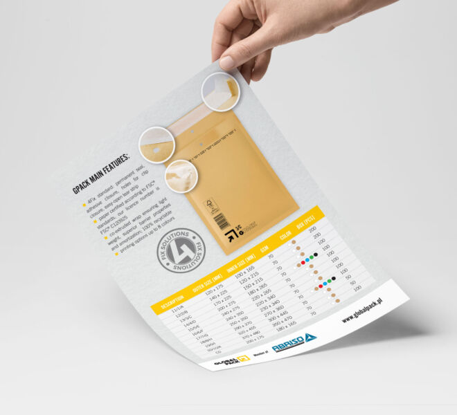 ulotka zaprojektowana dla producenta kopert