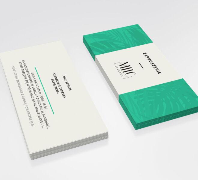 zaprojektowane zaproszenie na degustacje alkoholi minimal design