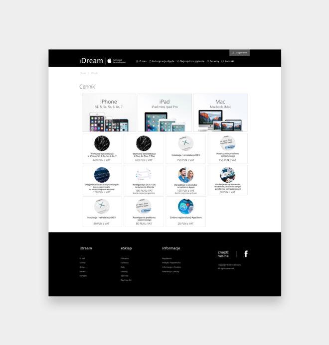projekt strony internetowej dla dystrybutora sprzetu komputerowego