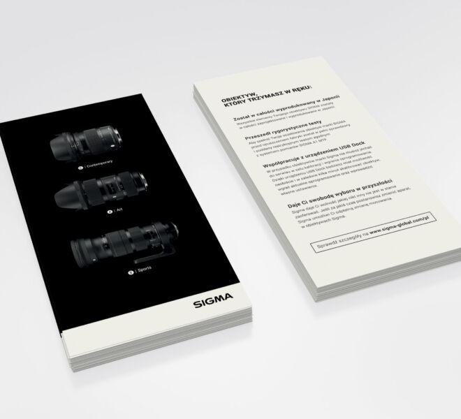 projekt ulotki dla znanej marki obiektywow foto video